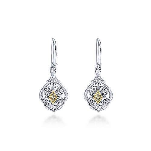 925 Silver And 18k Yellow Gold Victorian Drop Earrings angle 1