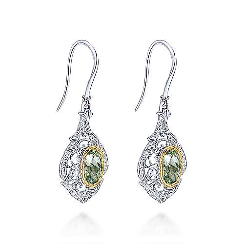 925 Silver And 18k Yellow Gold Victorian Drop Earrings angle 2