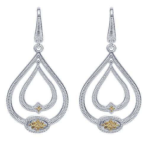 Gabriel - 925 Silver And 18k Yellow Gold Victorian Drop Earrings