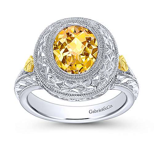 925 Silver And 18k Yellow Gold Victorian Fashion Ladies' Ring angle 4