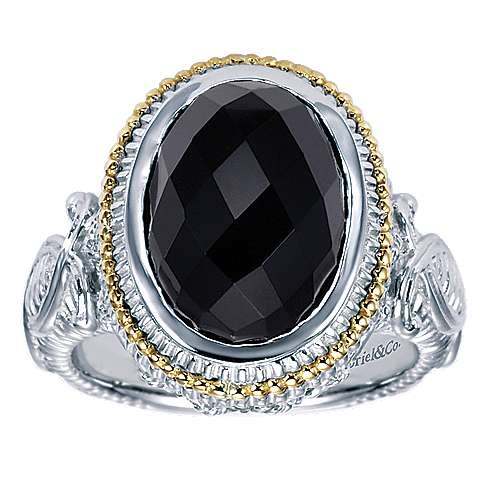 925 Silver And 18k Yellow Gold Victorian Fashion Ladies' Ring angle 5