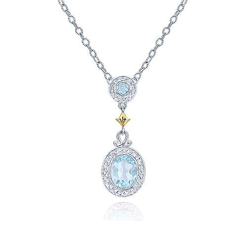 925 Silver And 18k Yellow Gold Victorian Fashion Necklace angle 1