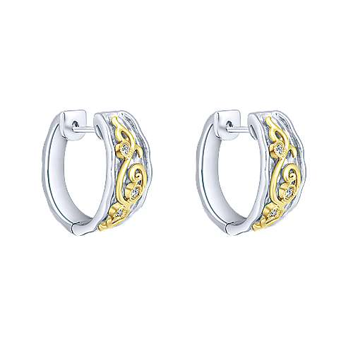 925 Silver And 18k Yellow Gold Victorian Huggie Earrings angle 1