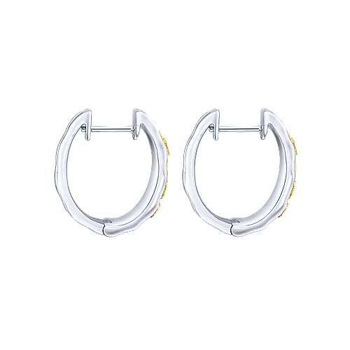 925 Silver And 18k Yellow Gold Victorian Huggie Earrings angle 2