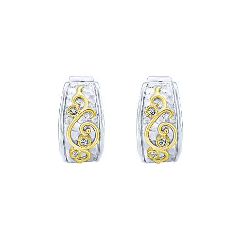 925 Silver And 18k Yellow Gold Victorian Huggie Earrings angle 3