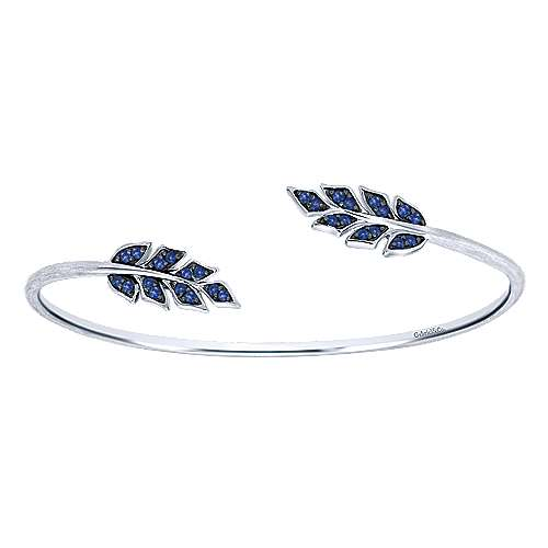 925 Silver And Pavé Sapphire Leaf Bangle angle 1