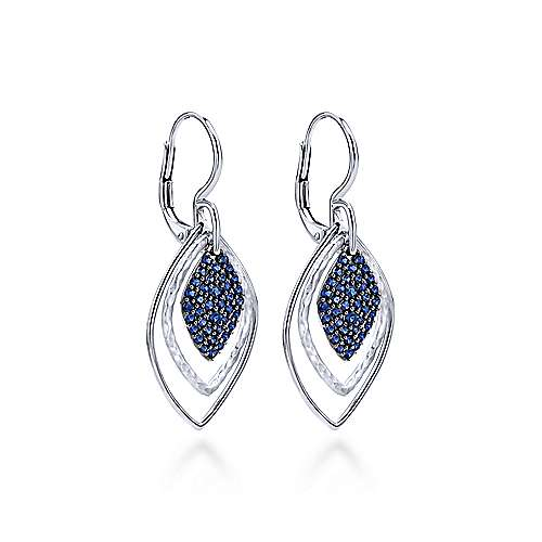 925 Silver And Pave Sapphire Drop Earrings angle 2