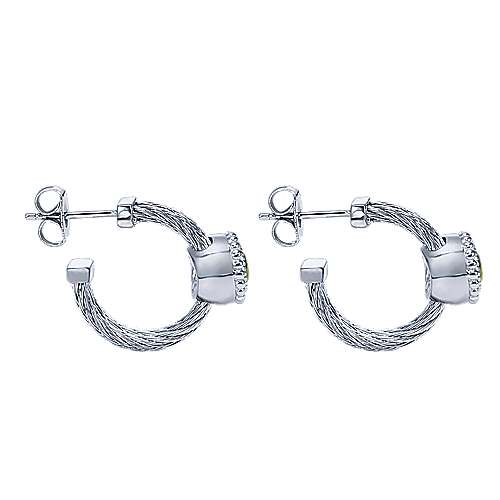 925 Silver And Stainless Steel Huggies Huggie Earrings angle 3