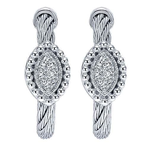 Gabriel - 925 Silver And Stainless Steel Huggies Huggie Earrings