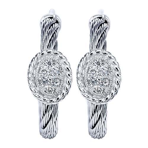 Gabriel - 925 Silver And Stainless Steel Huggies Huggie Earrings