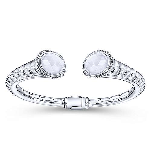 925 Silver And Stainless Steel Scalloped Hinged Cuff Bangle