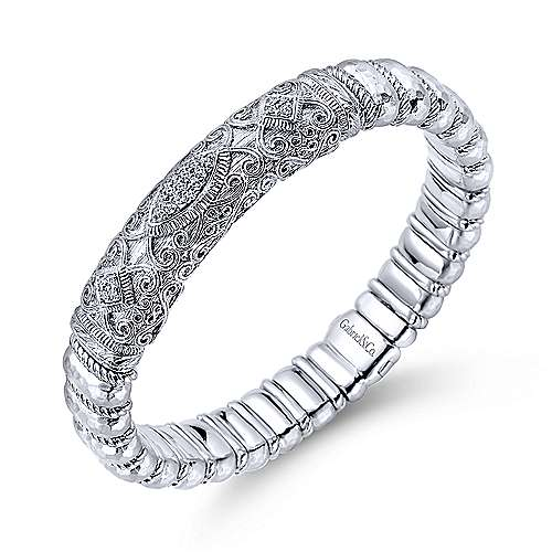 925 Silver And Stainless Steel Souviens Bangle angle 2