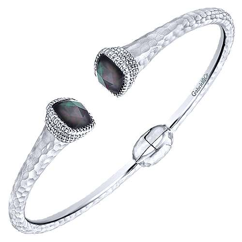 925 Silver And Stainless Steel Souviens Hinged Cuff Bangle