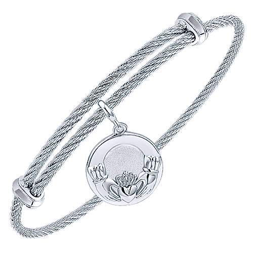 925 Silver And Stainless Steel Steel My Heart Charm Bangle