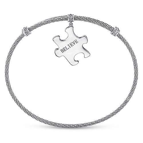 925 Silver And Stainless Steel Steel My Heart Charm Bangle angle 3