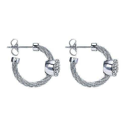 925 Silver And Stainless Steel Steel My Heart Classic Hoop Earrings angle 2