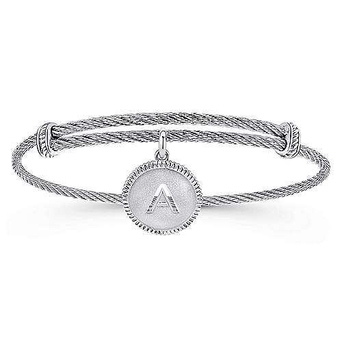 925 Silver And Stainless Steel Steel My Heart Initial Bangle angle 1