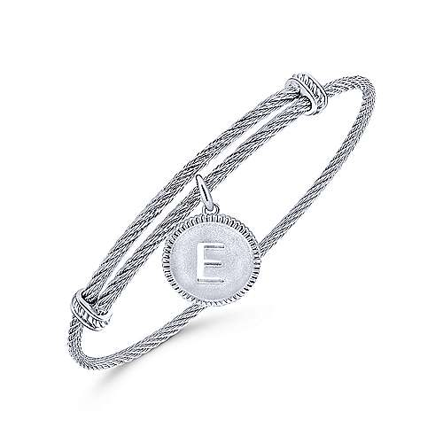 925 Silver And Stainless Steel Steel My Heart Initial Bangle angle 2