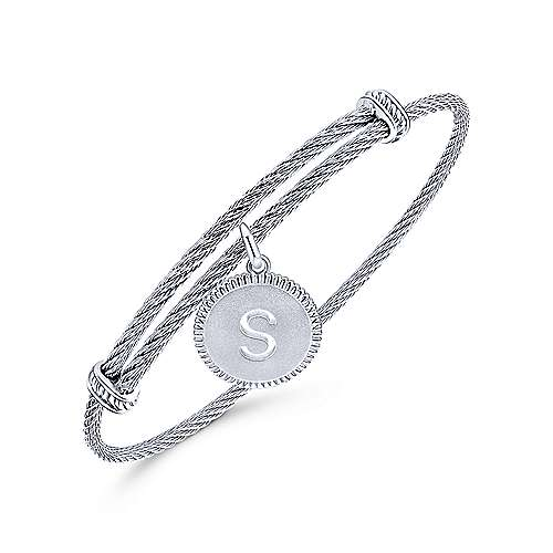 925 Silver And Stainless Steel Steel My Heart Initial Bangle