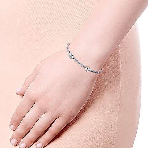 925 Silver And Stainless Steel Steel My Heart Twisted Cable Bangle angle 4