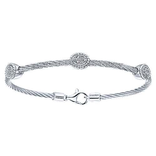 Gabriel - 925 Silver And Stainless Steel Steel My Heart Twisted Cable Bangle