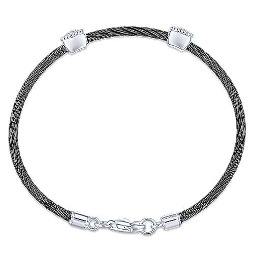 925 Silver And Stainless Steel Steel My Heart Twisted Cable Bangle angle 3