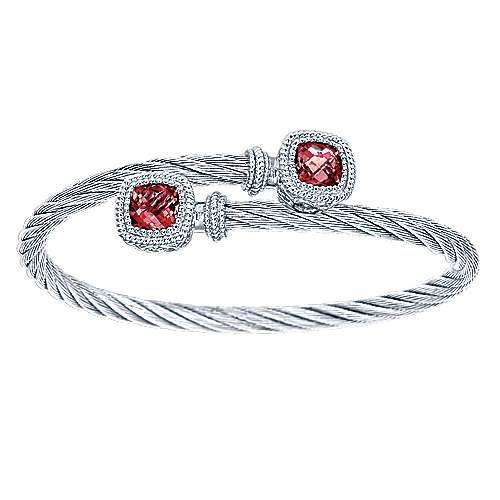925 Silver And Stainless Steel Steel My Heart Twisted Cable Bangle