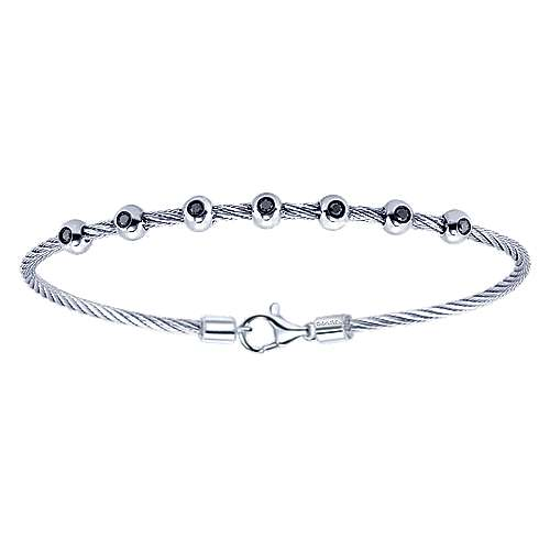 925 Silver And Stainless Steel Steel My Heart Twisted Cable Bracelet