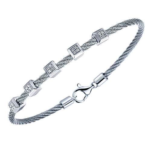 925 Silver And Stainless Steel Steel My Heart Twisted Cable Bracelet angle 2