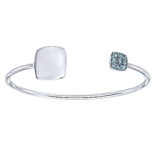 Gabriel - 925 Silver Aquamarine Engravable Bangle