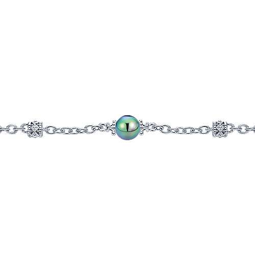 925 Silver Black Pearl Chain Bracelet angle 2