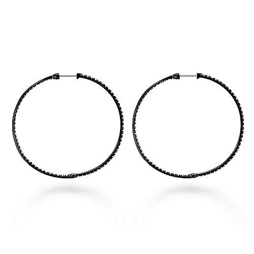 925 Silver Black Plated Shadow Play Classic Hoop Earrings angle 2