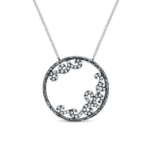 Gabriel - 925 Silver Black Plated Shadow Play Fashion Necklace