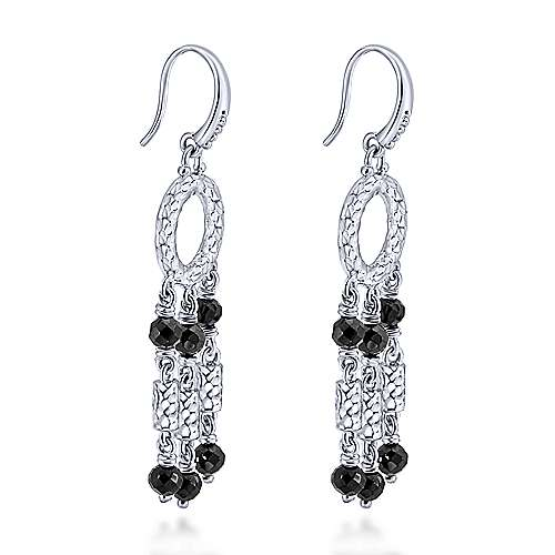 925 Silver Black Spinel Drop Earrings angle 2