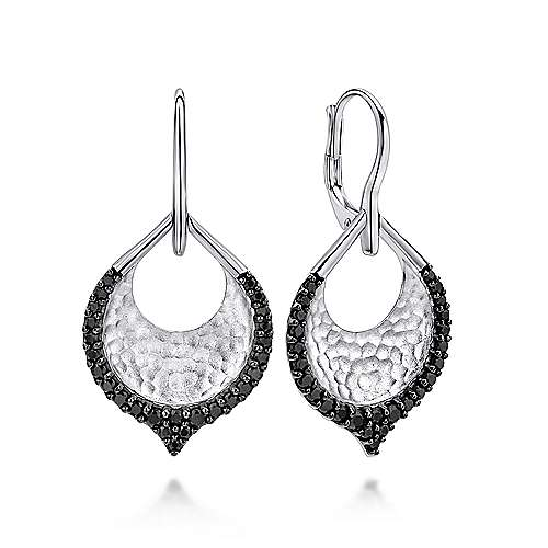 925 Silver Black Spinel Drop Earrings angle 1