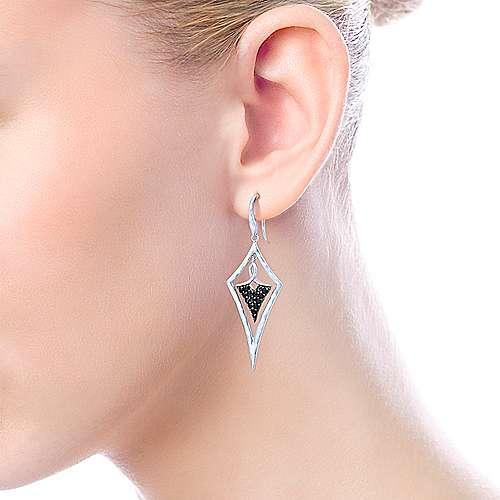 925 Silver Black Spinel Drop Earrings angle 2