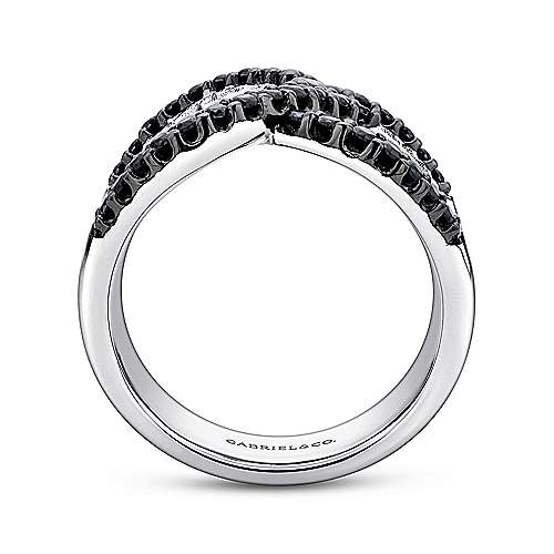 925 Silver Black Spinel Wide Band Ladies Ring angle 2