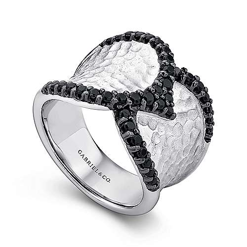 925 Silver Black Spinel Wide Band Ladies Ring angle 3