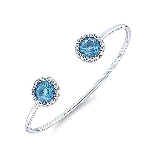925 Silver Blue Topaz  And Bangle angle 2
