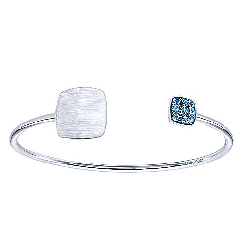 Gabriel - 925 Silver Blue Topaz Engravable Bangle
