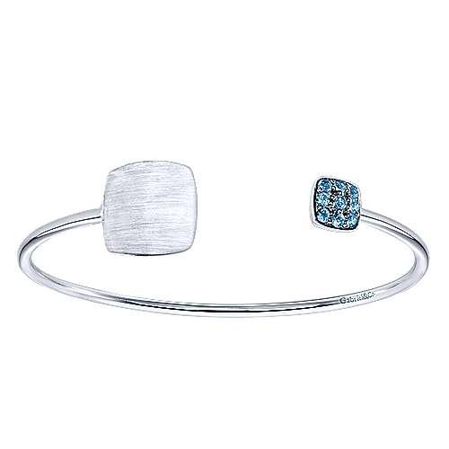 925 Silver Blue Topaz Engravable Bangle