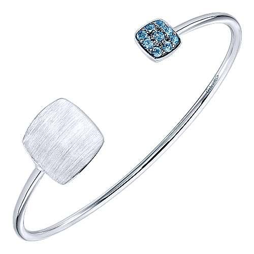 925 Silver Blue Topaz Engravable Bangle angle 2