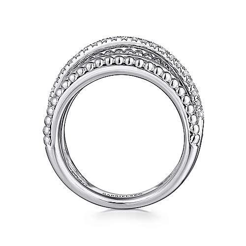 925 Silver Bujukan Wide Band Ladies' Ring angle 2