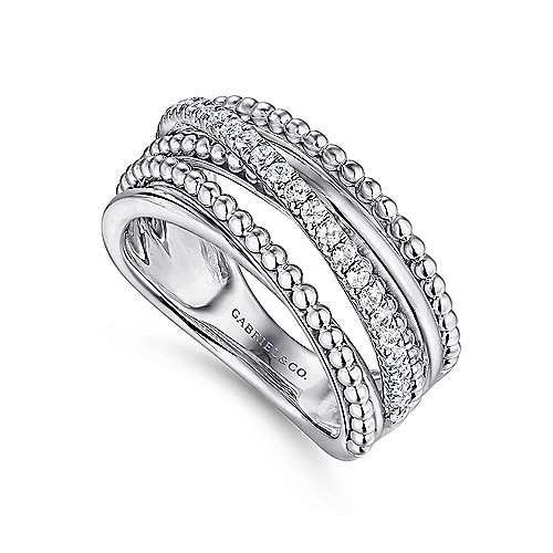 925 Silver Bujukan Wide Band Ladies' Ring angle 3