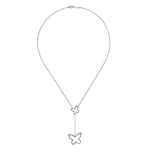 925 Silver Butterfly Lariat Necklace angle 2