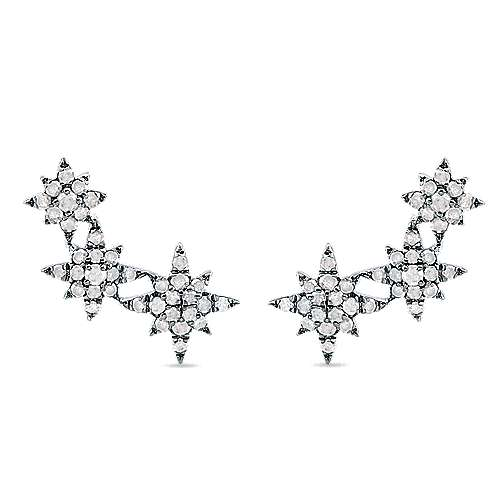 Gabriel - 925 Silver Front Row Stud Earrings