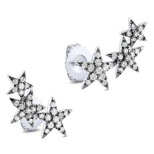 925 Silver Candlelight Diamond Stud Earrings angle 2