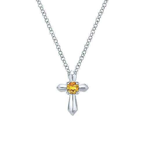 925 Silver Citrine Cross Necklace angle 1
