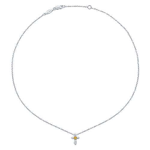 925 Silver Citrine Cross Necklace angle 2