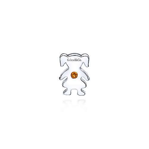 925 Silver Citrine Locket Charm Pendant angle 2